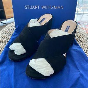 Stuart Weitzman Galene Black Suede Sandals sz 8.5M